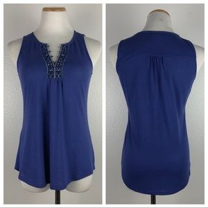 WHBM Blue Embroidered Neck Tank Top XS
